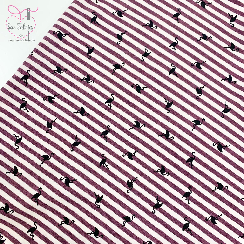 Wine Flamingo Striped Stretch Cotton Elastane Jersey Fabric, Dress, Children's