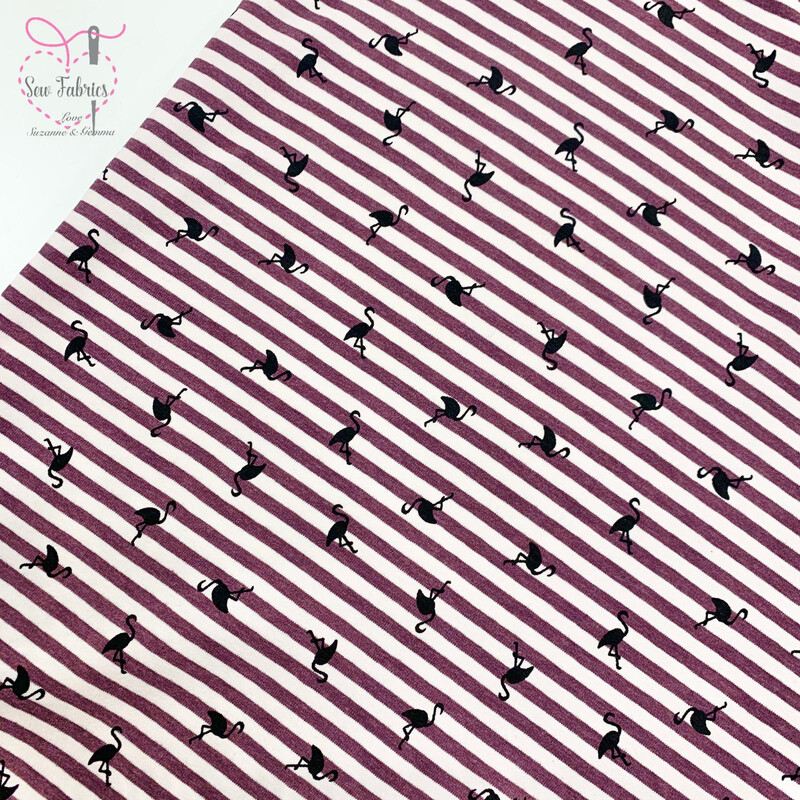 Wine Flamingo Striped Stretch Cotton Elastane Jersey Fabric, Dress, Children's