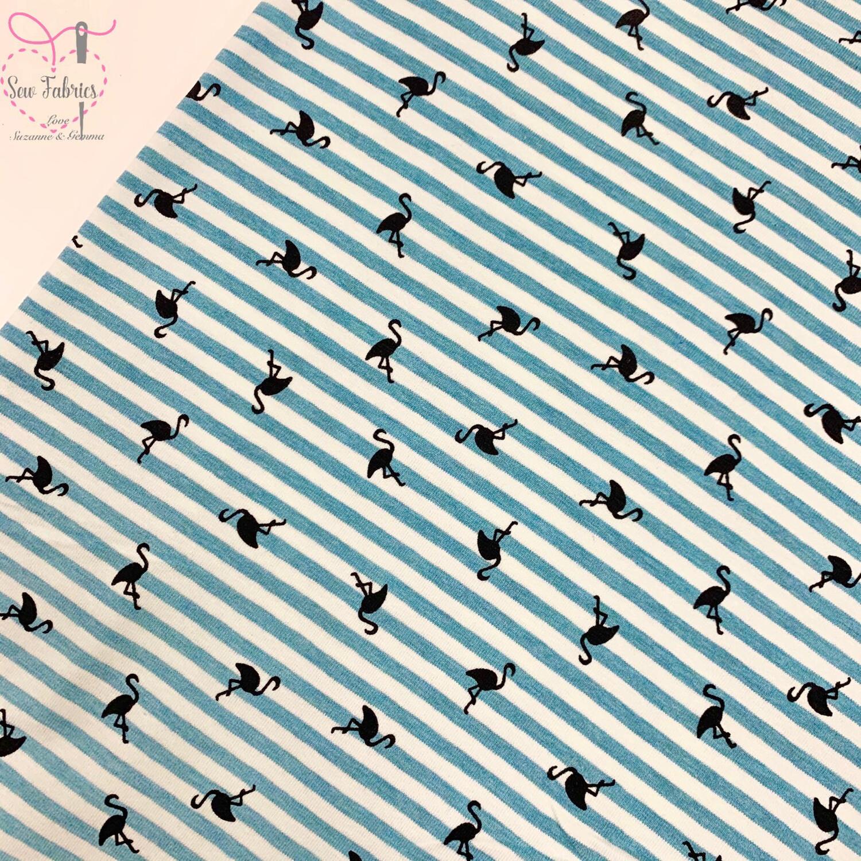 Aqua Flamingo Striped Stretch Cotton Elastane Jersey Fabric, Dress, Children's