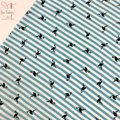 Aqua Flamingo Striped Stretch Cotton Elastane Jersey Fabric, Dress, Children's