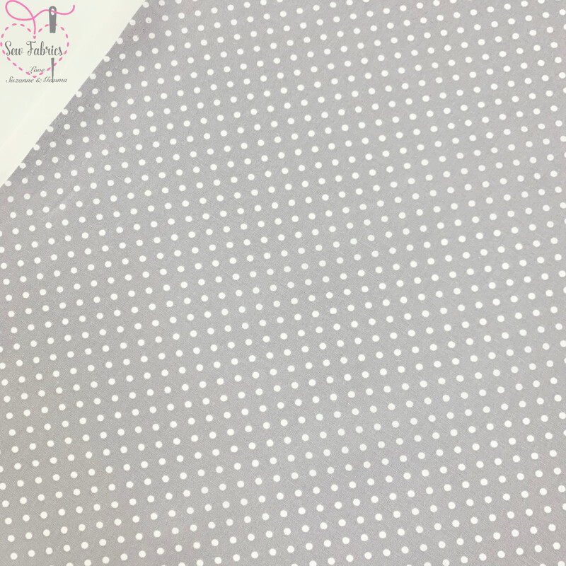 Rose and Hubble Silver Polka Dot Fabric 100% Cotton Poplin Spot Geometric Material