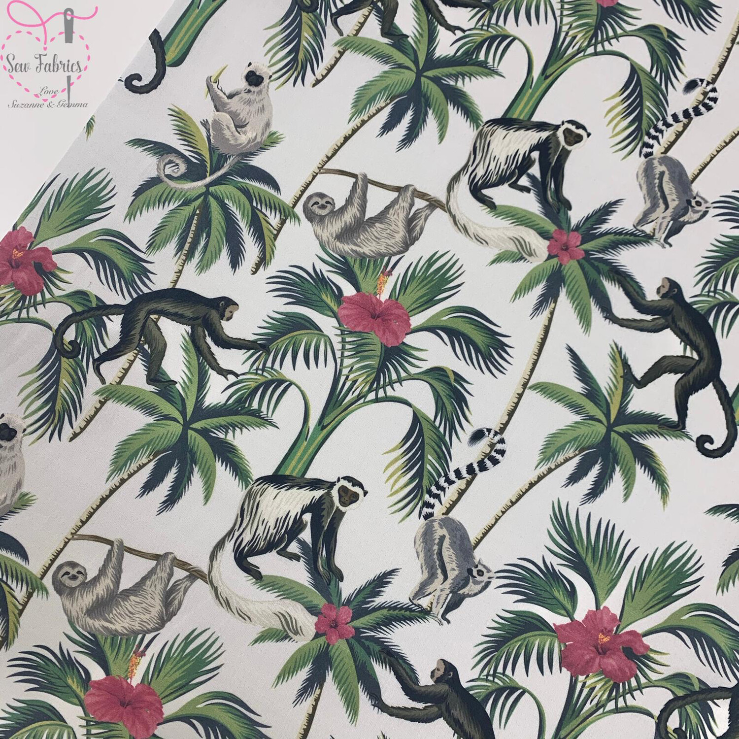 "Green Monkey Palm Leaves, The Little Johnny Collection Animal, Floral Fabric 100% Cotton 59"" Wide Width"