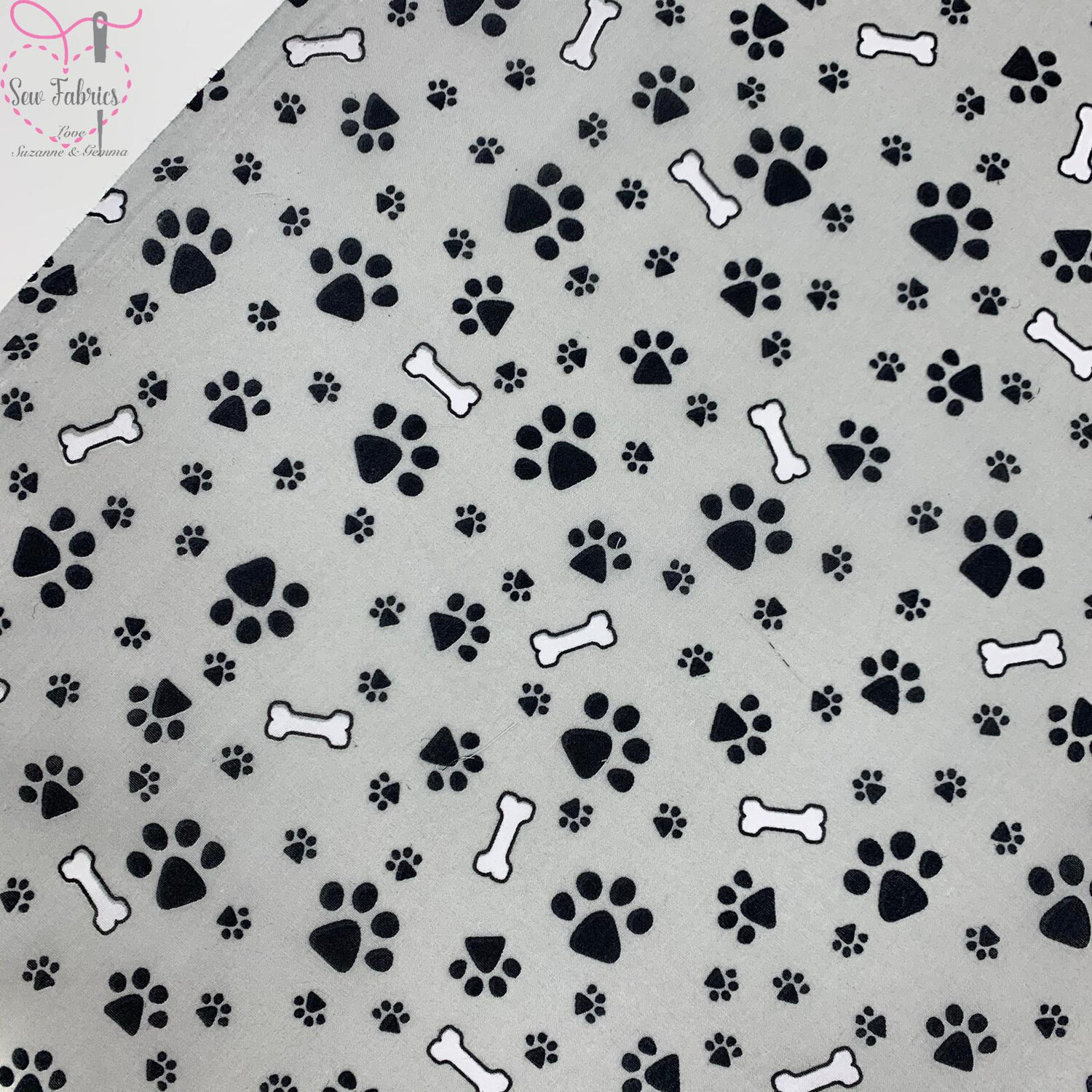 Grey Paws and Bones Print Polycotton Fabric Childrens Novelty Fabric Material Boys Unisex Dogs