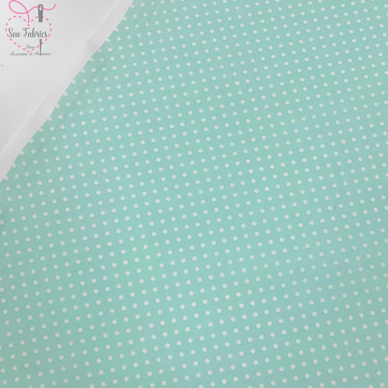 Rose and Hubble Mint Polka Dot Fabric 100% Cotton Poplin Spot Geometric Material