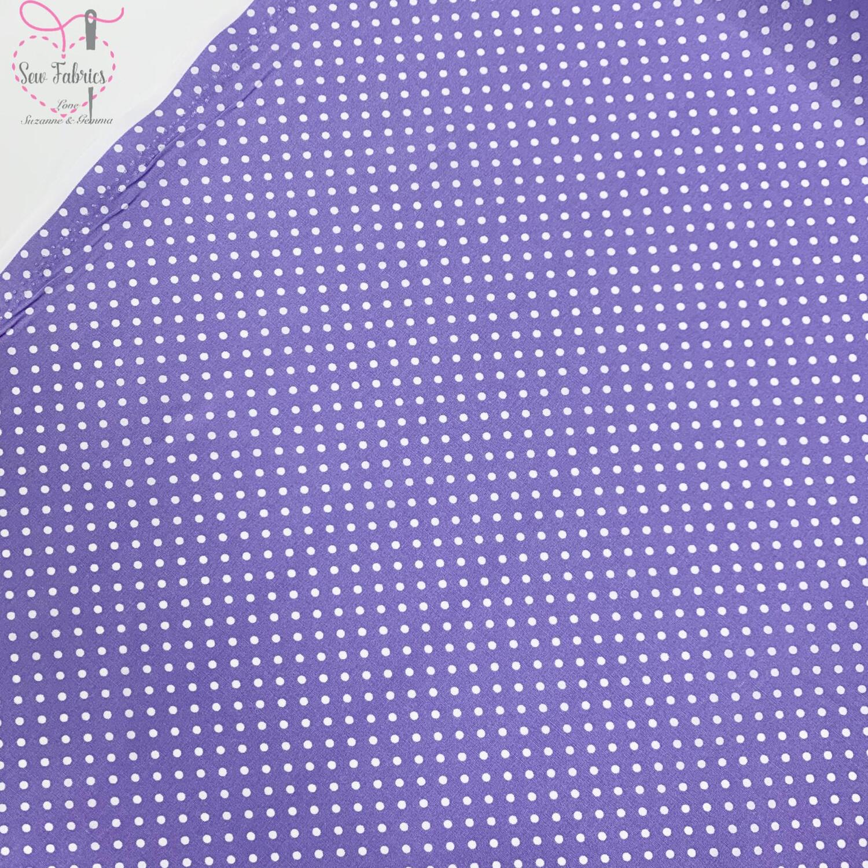 Rose and Hubble Lilac Polka Dot Fabric 100% Cotton Poplin Spot Geometric Material