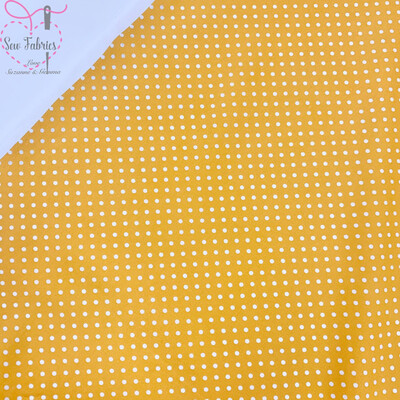 Rose and Hubble Yellow Polka Dot Fabric 100% Cotton Poplin Spot Geometric Material