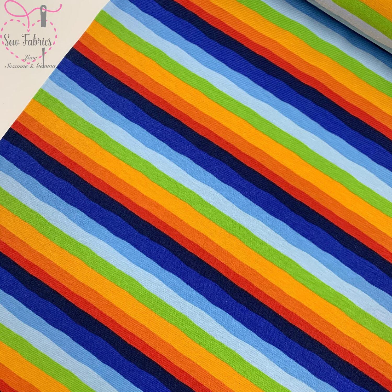 Rainbow Striped Cotton Elastane Tricot Jersey Fabric, Dress, Children's