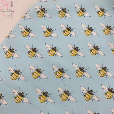 Rose and Hubble Sky Blue Bee Print Fabric 100% Cotton Poplin