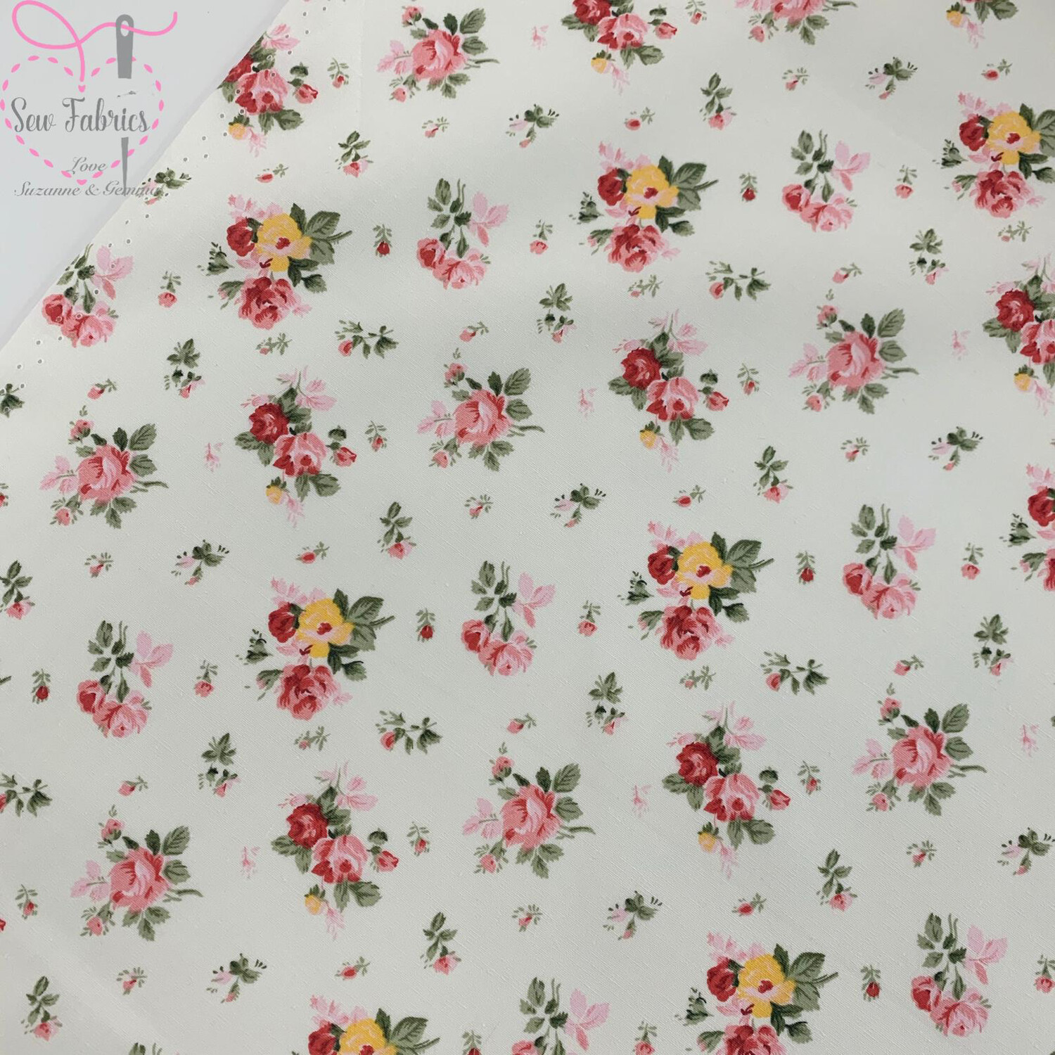 Rose & Hubble Ivory Dainty Bouquet Floral Fabric 100% Cotton Poplin