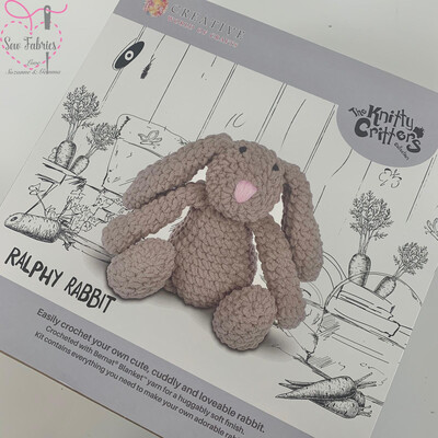 The Knitty Critters Collection, Ralphy Rabbit Crochet Kit for Beginners,  Supersized and Gift Boxed Rabbit Kit