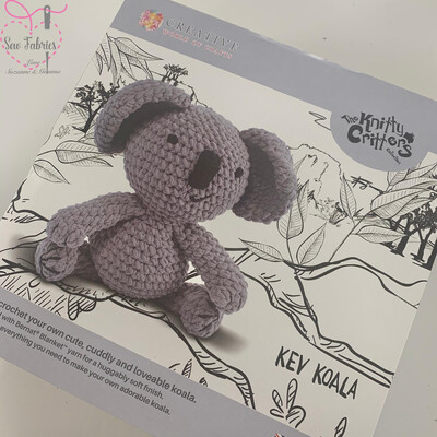 The Knitty Critters Collection, Kev Koala Crochet Kit for Beginners,  Supersized and Gift Boxed Koala Kit
