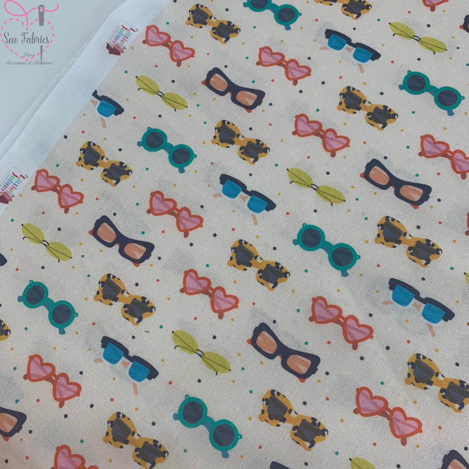 "Cream Sunnies Design, The Little Johnny Collection Summer Sunglasses Fabric 100% Cotton 59"" Wide Width"