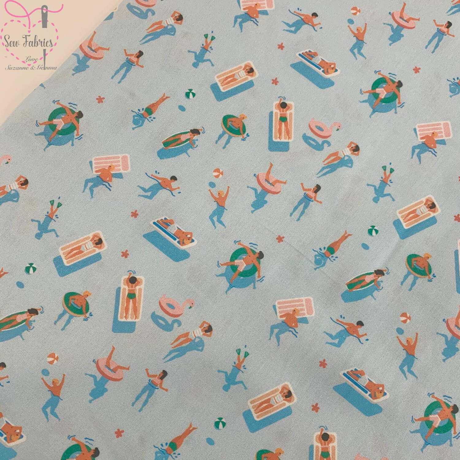 "Baby Blue Swimming Design, The Little Johnny Collection Summer Fabric 100% Cotton 59"" Wide Width"