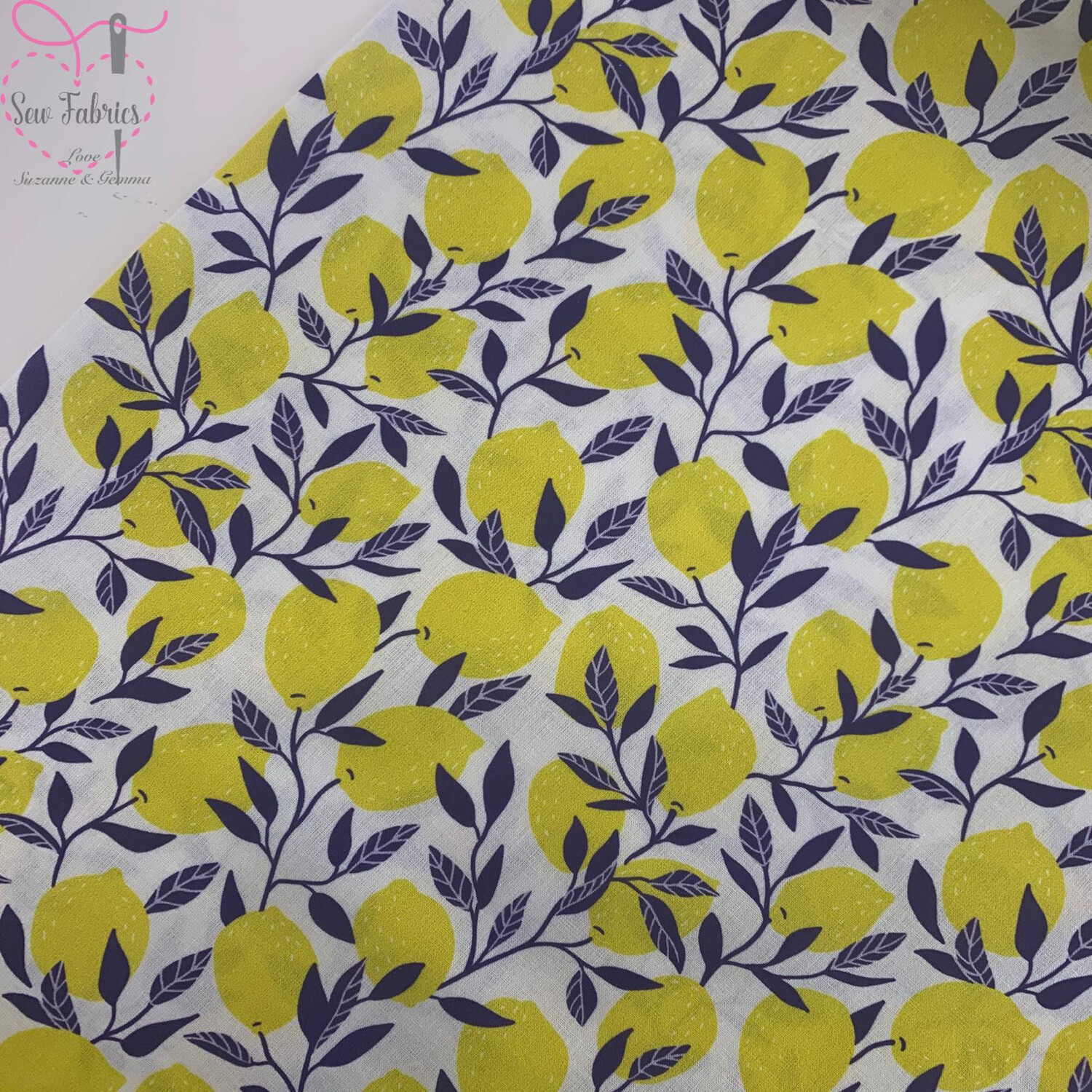 "Blue Leaf Lemons Design on White Background, The Little Johnny Collection Summer Fabric 100% Cotton 59"" Wide Width"