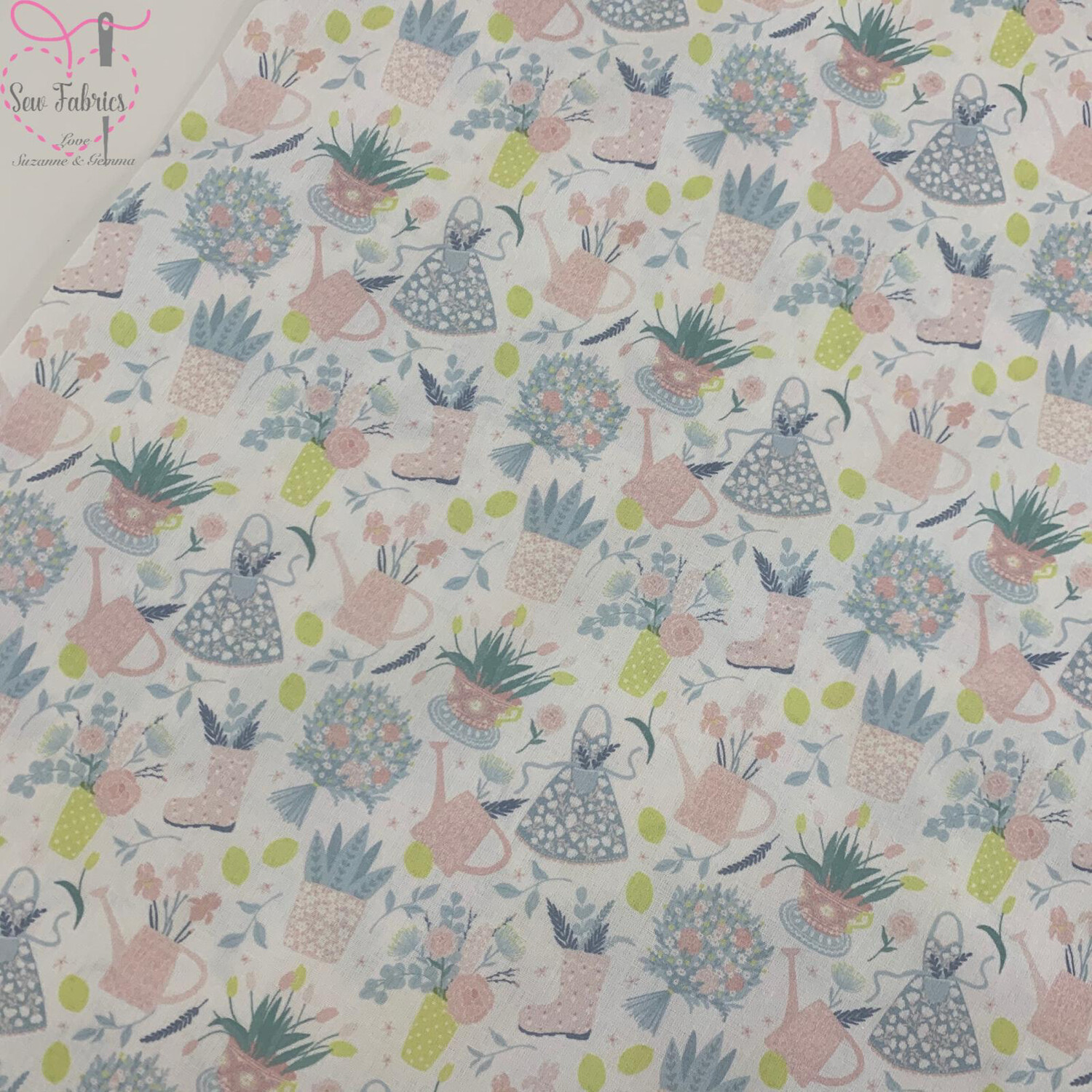 "White Flower Pots Design, The Little Johnny Collection Summer Fabric 100% Cotton 59"" Wide Width"