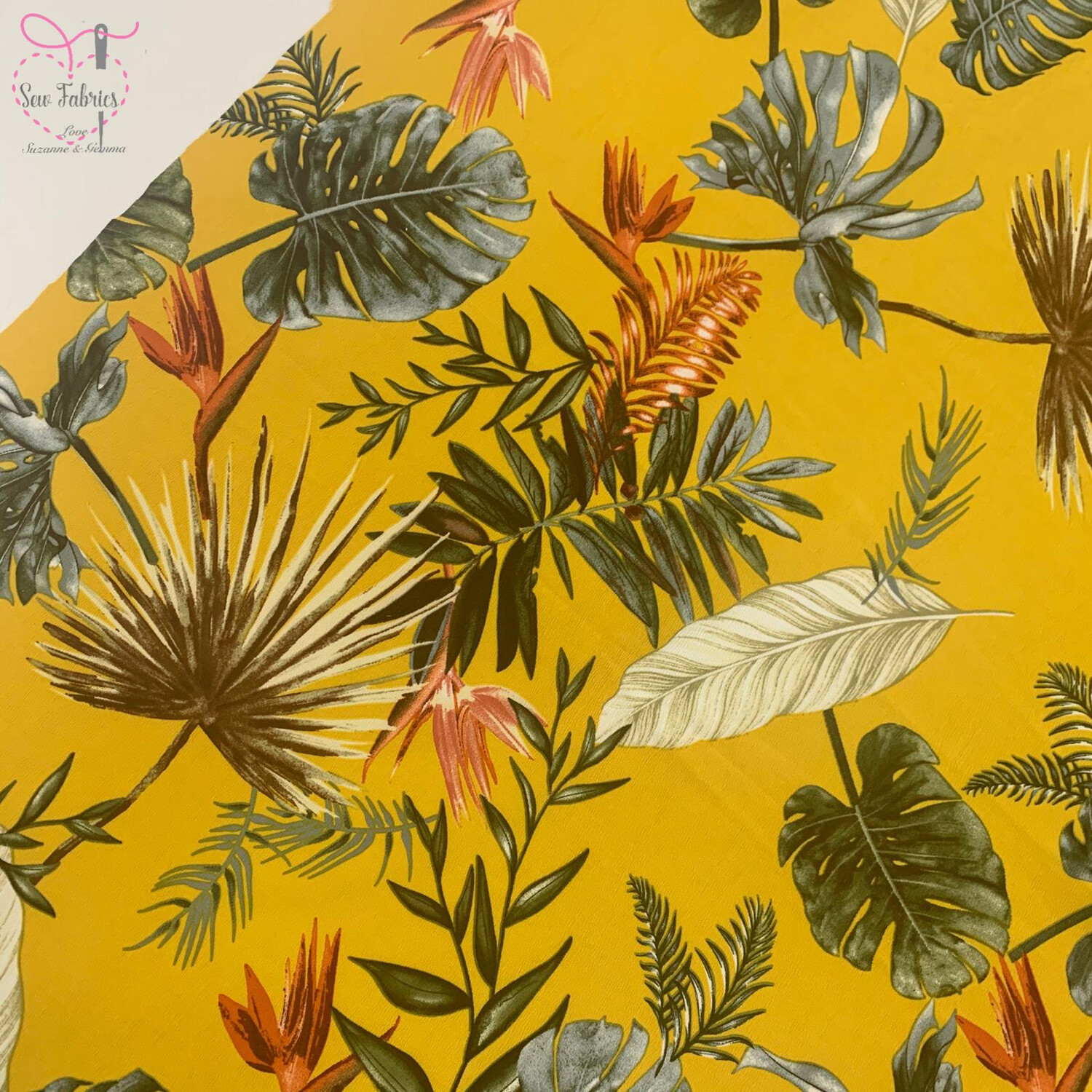Yellow Tropical Palm Leaves Floral Stretch Crepe