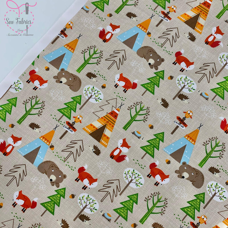 Rose & Hubble Autumn Grey Forest Friends Animal Camping Teepee Print 100% Cotton Poplin Fabric