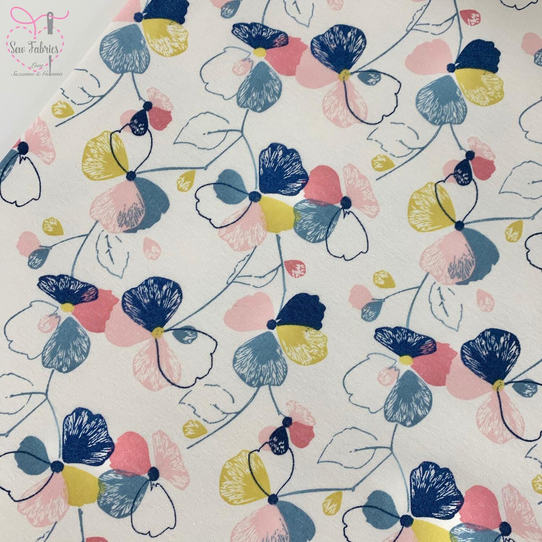 John Louden Multi Pansy Floral Cotton Polyester Elastane Fleece Backed Jersey Fabric