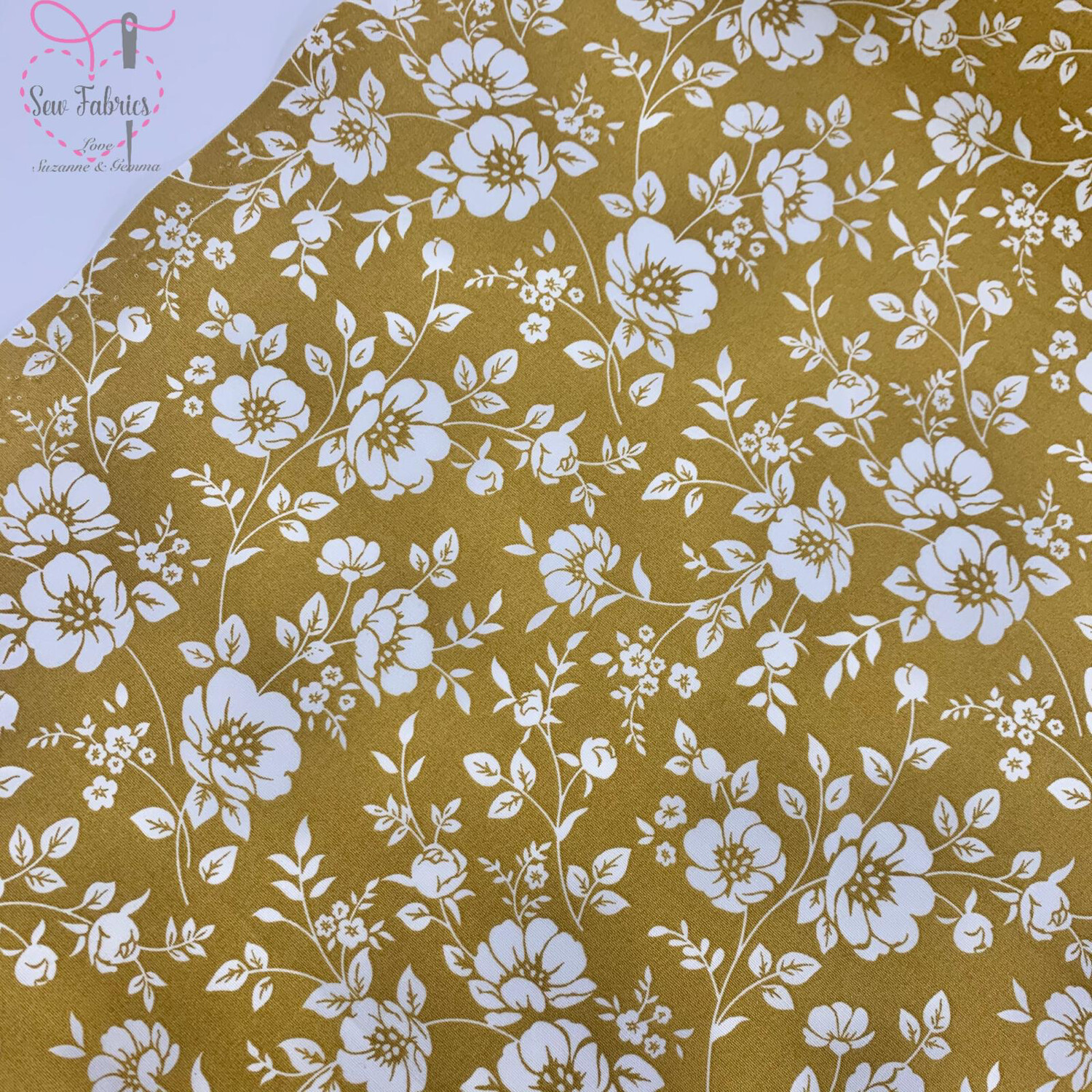 Rose &  Hubble Ochre Ivory Bold Floral Fabric, 100% Cotton Poplin Mustard Yellow Material