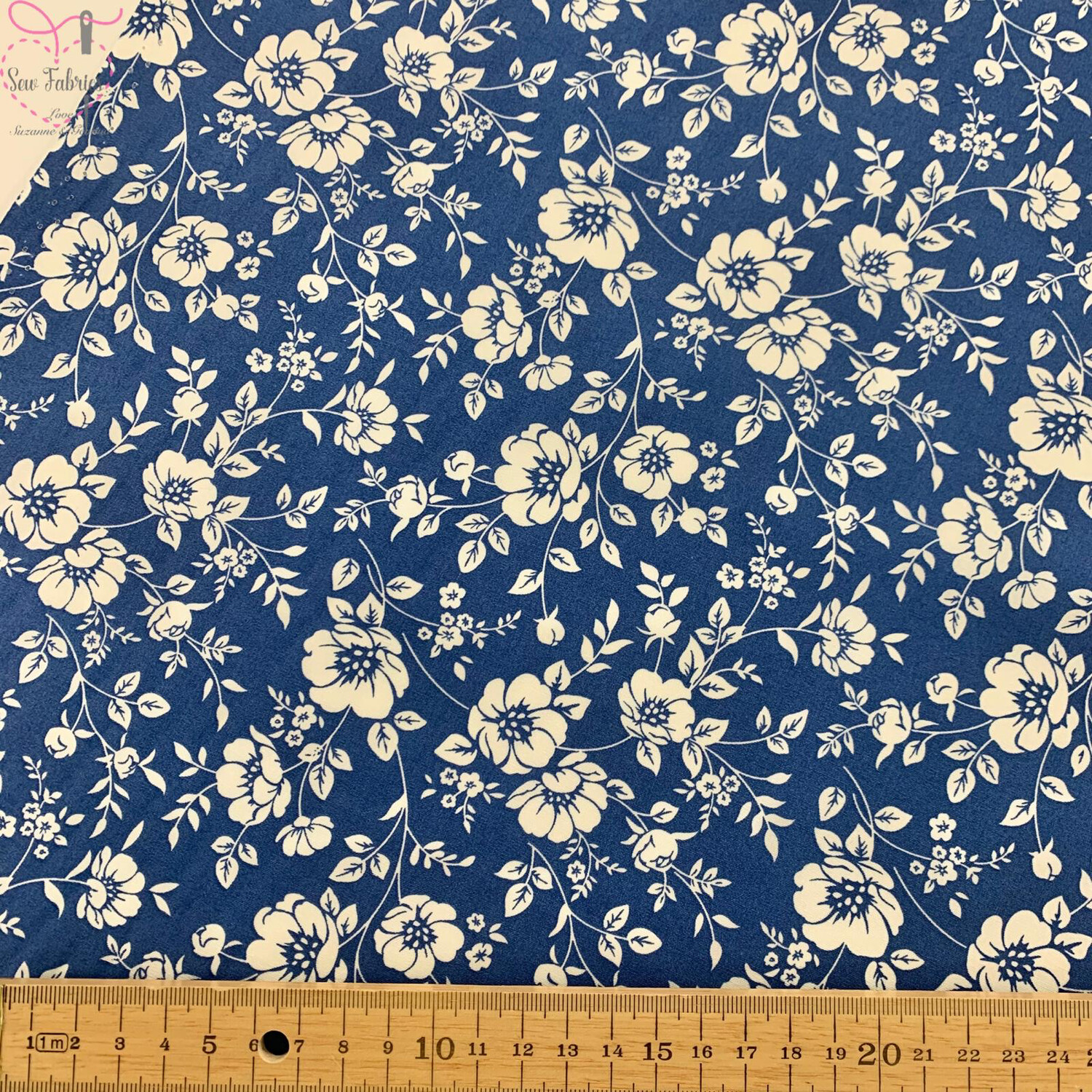Rose & Hubble Copen Blue Ivory Bold Floral Fabric, 100% Cotton Poplin Material