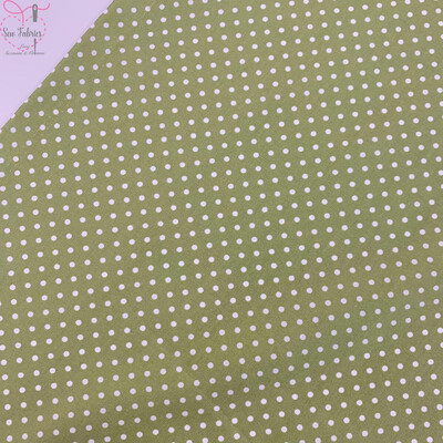 Rose and Hubble Meadow Green Polka Dot Fabric 100% Cotton Poplin Spot Geometric Material