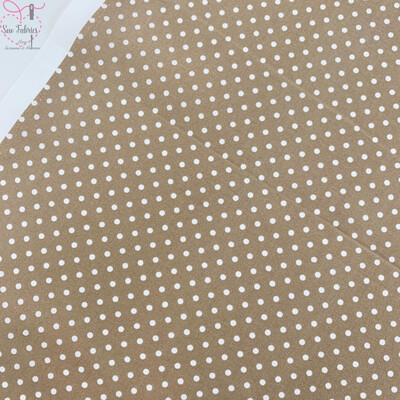 Rose and Hubble Tan Polka Dot Fabric 100% Cotton Poplin Spot Geometric Material