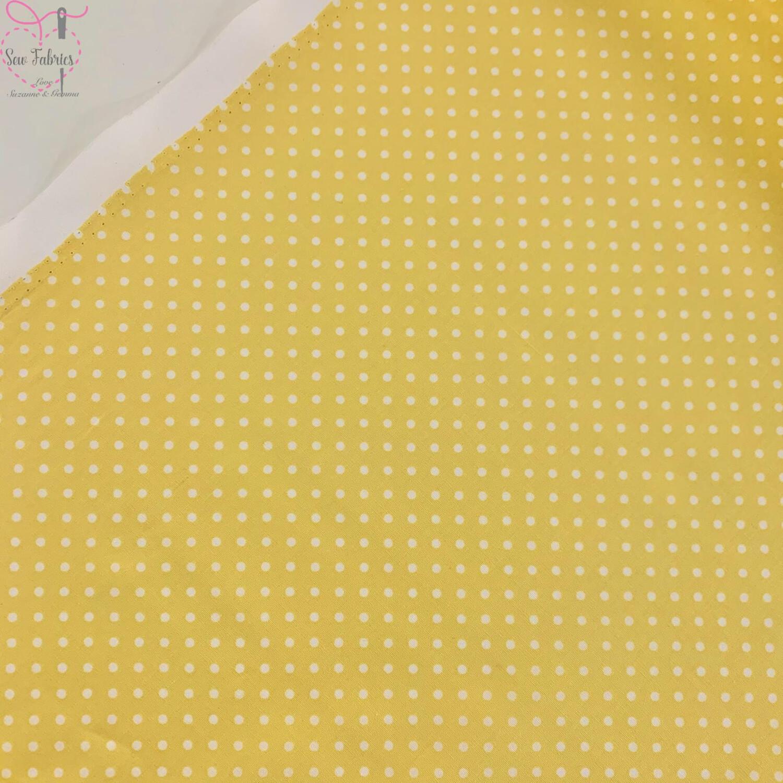 Rose and Hubble Lemon Yellow Polka Dot Fabric 100% Cotton Poplin Spot Geometric Material
