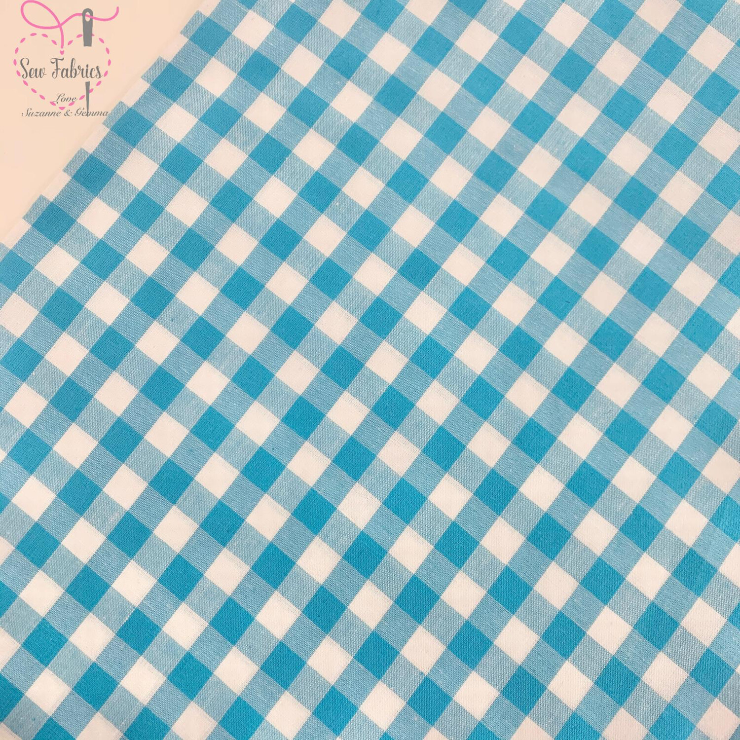 "John Louden Turquoise Blue Gingham 1/3"" 100% Yarn Dyed Cotton Check Fabric"