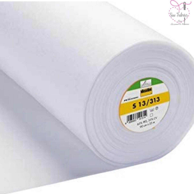 1m x White Heavyweight Standard Sew-in Non Woven Interfacing/Interlining 90cm Wide by Vilene Vlieseline, for stiffening fabrics
