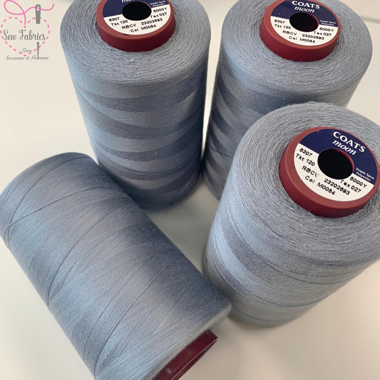 4 pack x 5000y Moon Polyester Thread Cones, Overlocker - Storm Grey