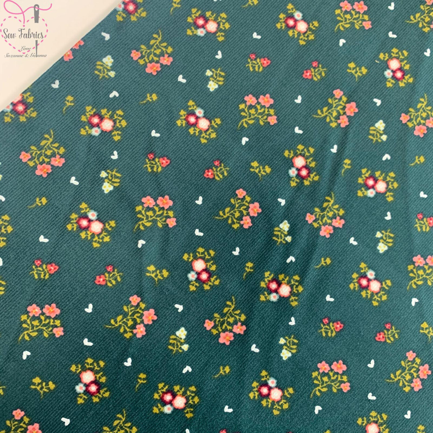 "John Louden Green Floral Babycord, 100% Cotton Needlecord Fabric, 57"" Wide Width"