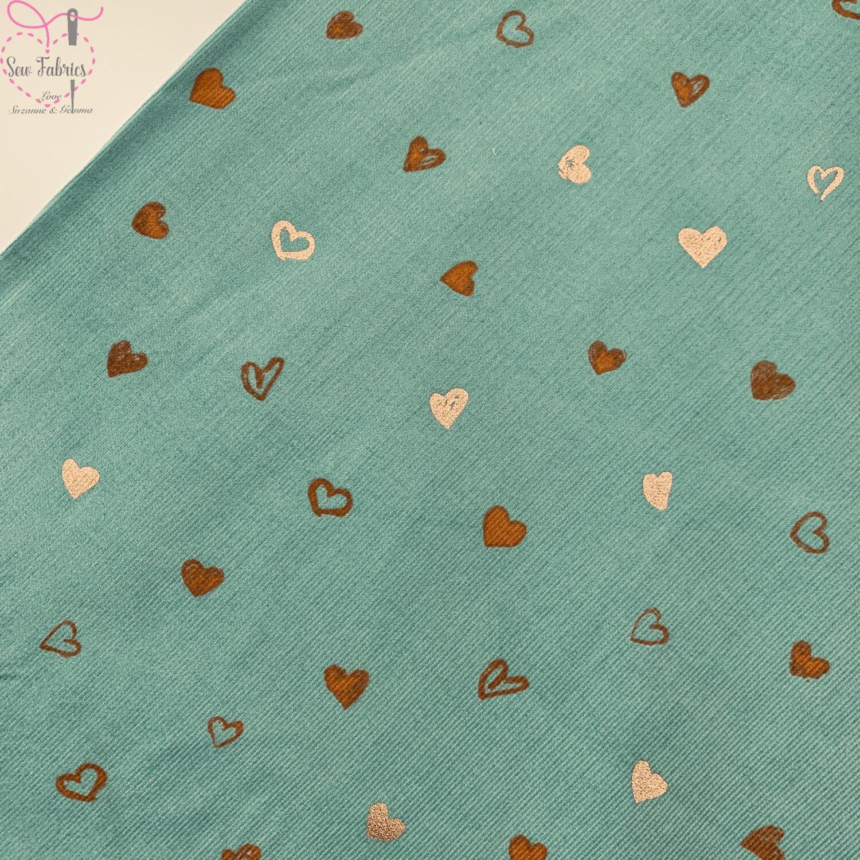 "John Louden Mint Green Glitter Heart Print Babycord, 100% Cotton Needlecord Fabric, 57"" Wide Width"