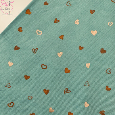 John Louden Mint Green Glitter Heart Print Babycord, 100% Cotton Needlecord Fabric, 57
