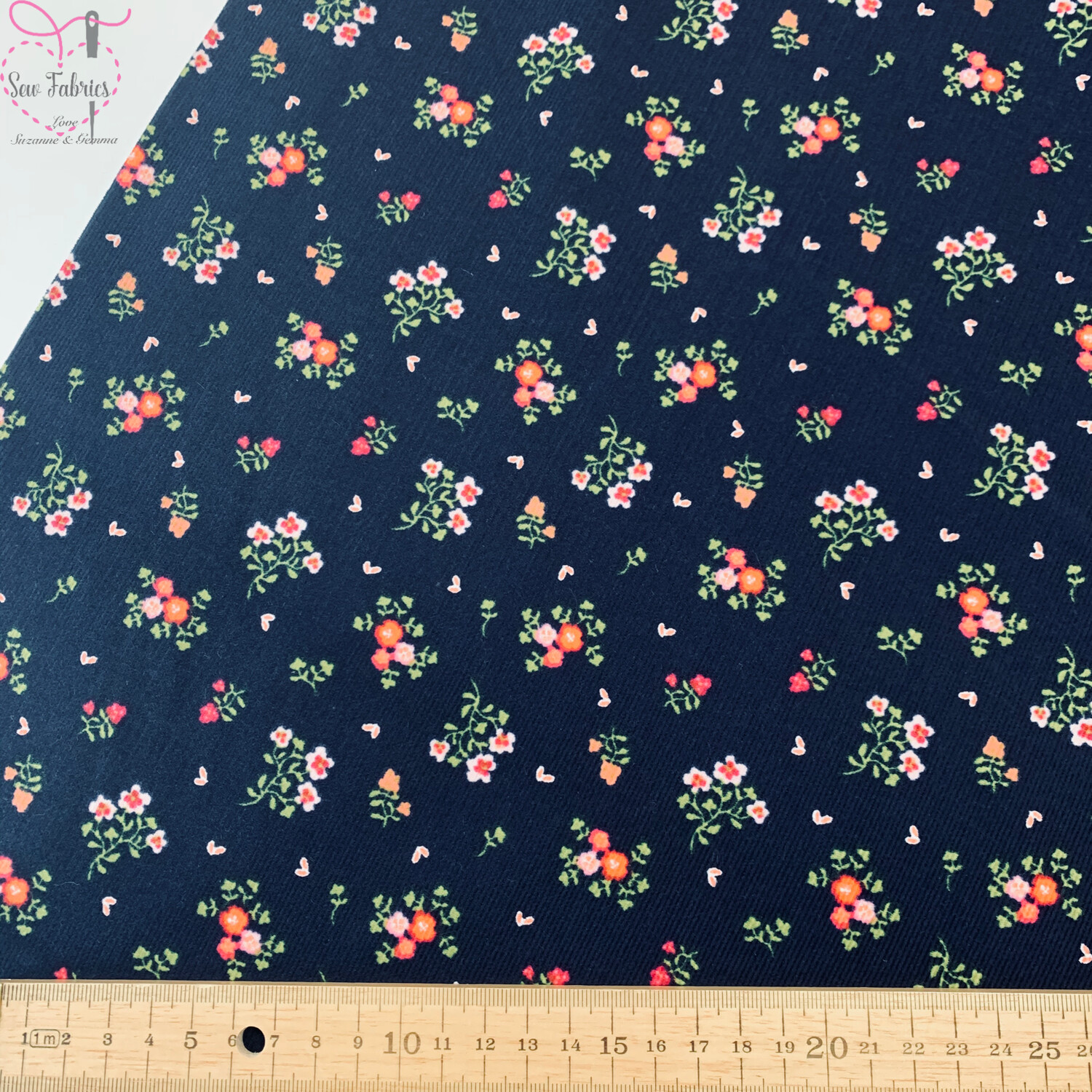 """John Louden Navy Blue Floral Babycord, 100% Cotton Needlecord Fabric, 57"""" Wide Width"""