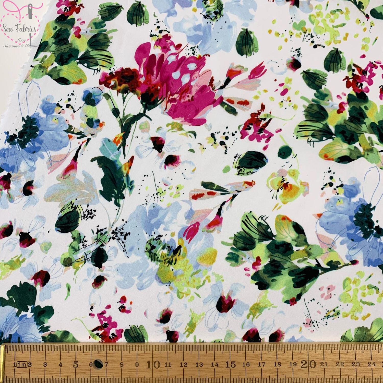 "John Louden Blue Floral 100% Cotton Fabric 58"" Wide Width"