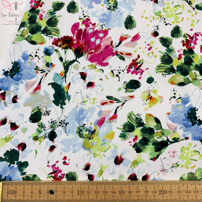 John Louden Blue Floral 100% Cotton Fabric 58