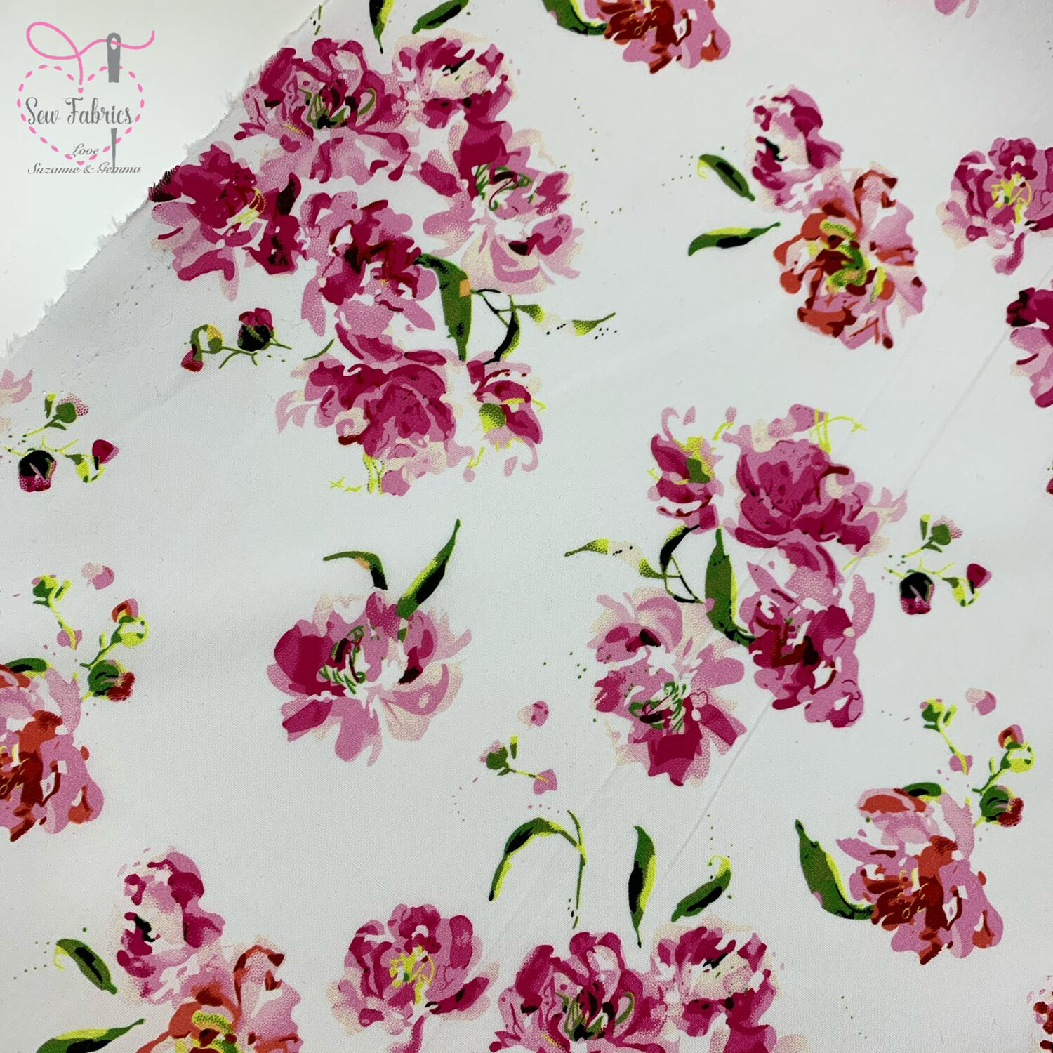 "John Louden Pink Floral 100% Cotton Fabric 58"" Wide Width"
