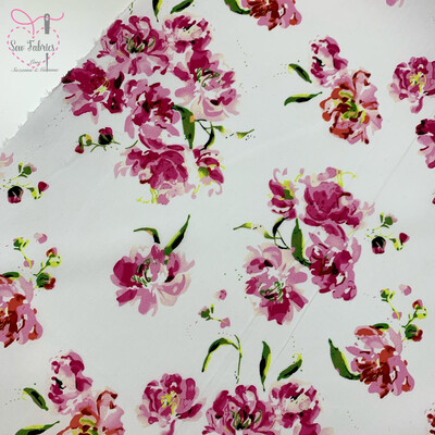 John Louden Pink Floral 100% Cotton Fabric 58