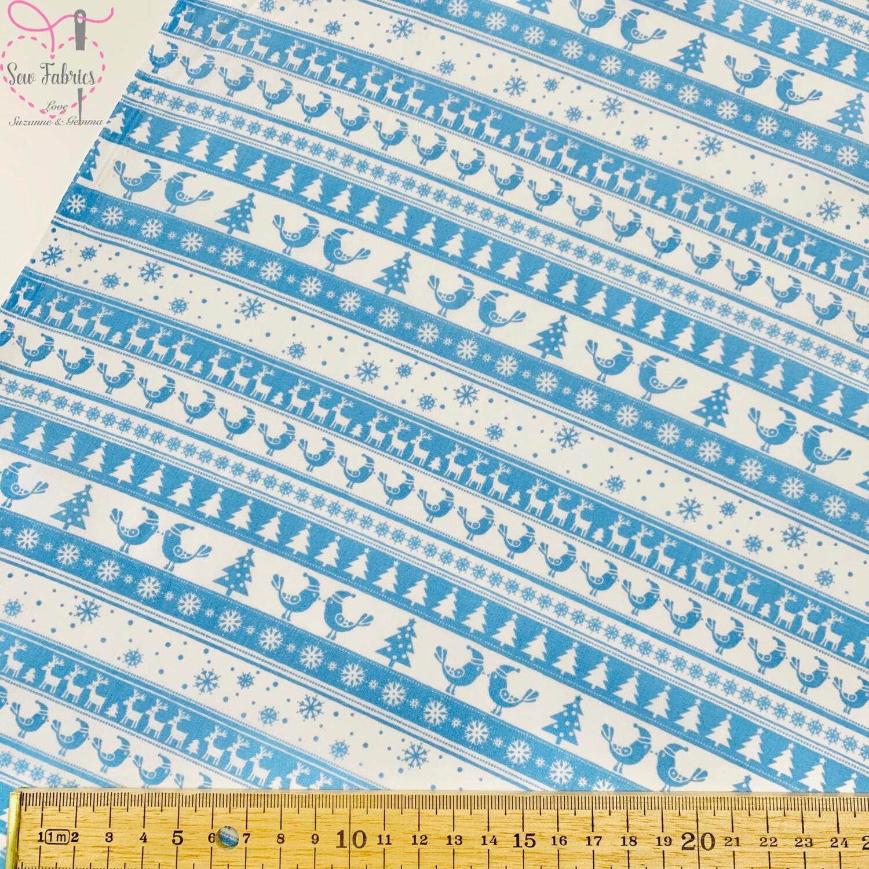Blue Christmas Theme Printed Polycotton Fabric Xmas, Christmas Tree, Reindeer, Snowflakes, Festive Material