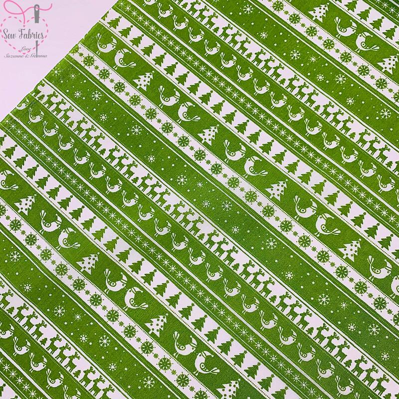 Green Christmas Theme Printed Polycotton Fabric Xmas, Christmas Tree, Reindeer, Snowflakes, Festive Material