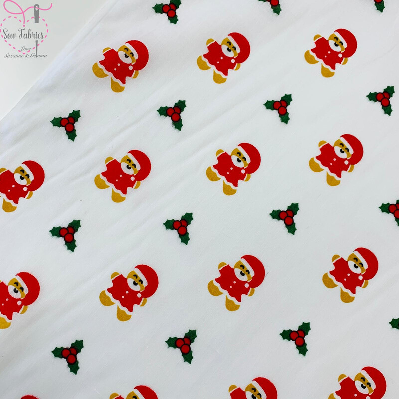 White Christmas Gingerbread Man Santa Novelty Print Polycotton Fabric Xmas, Festive Material