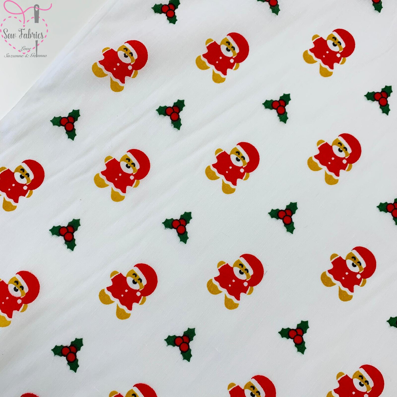 White Christmas Gingerbread Man Santa Novelty Print Polycotton Fabric Xmas, Festive Material