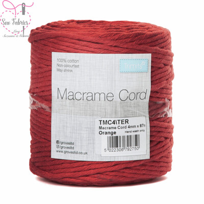 4mm Orange Trimits Macrame Cord, 100% Cotton, String, Craft, Made in UK, 87m Spool