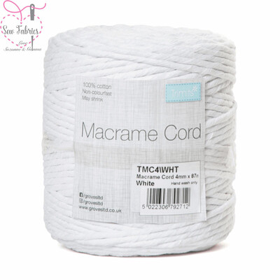 4mm White Trimits Macrame Cord, 100% Cotton, String, Craft, Made in UK, 87m Spool