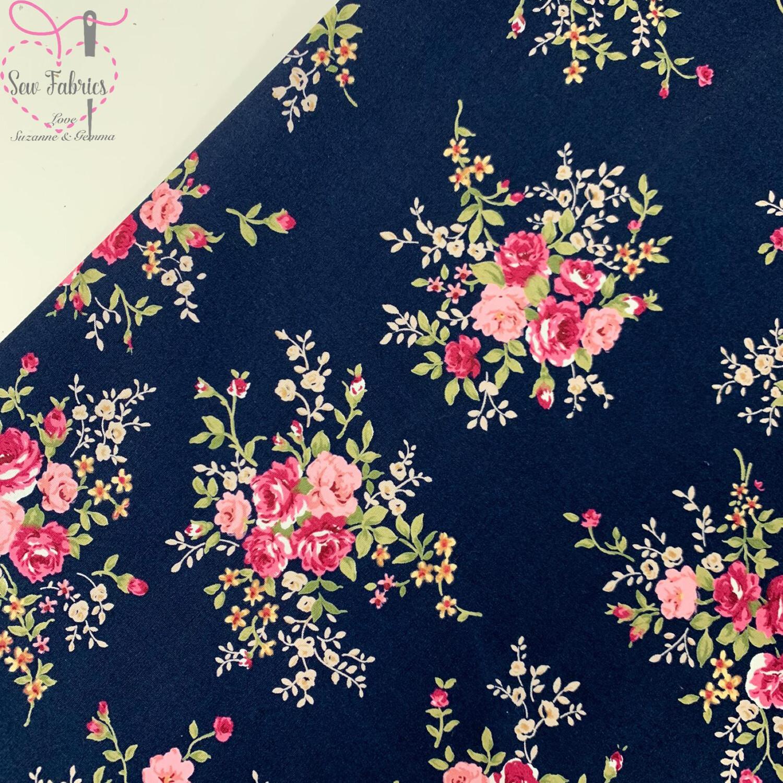 Rose & Hubble Navy Floral Fabric 100% Cotton Poplin Vintage Flower Material