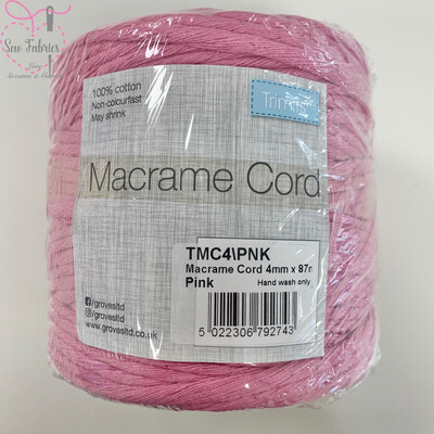 4mm Pink Trimits Macrame Cord, 100% Cotton, String, Craft, Made in UK, 87m Spool