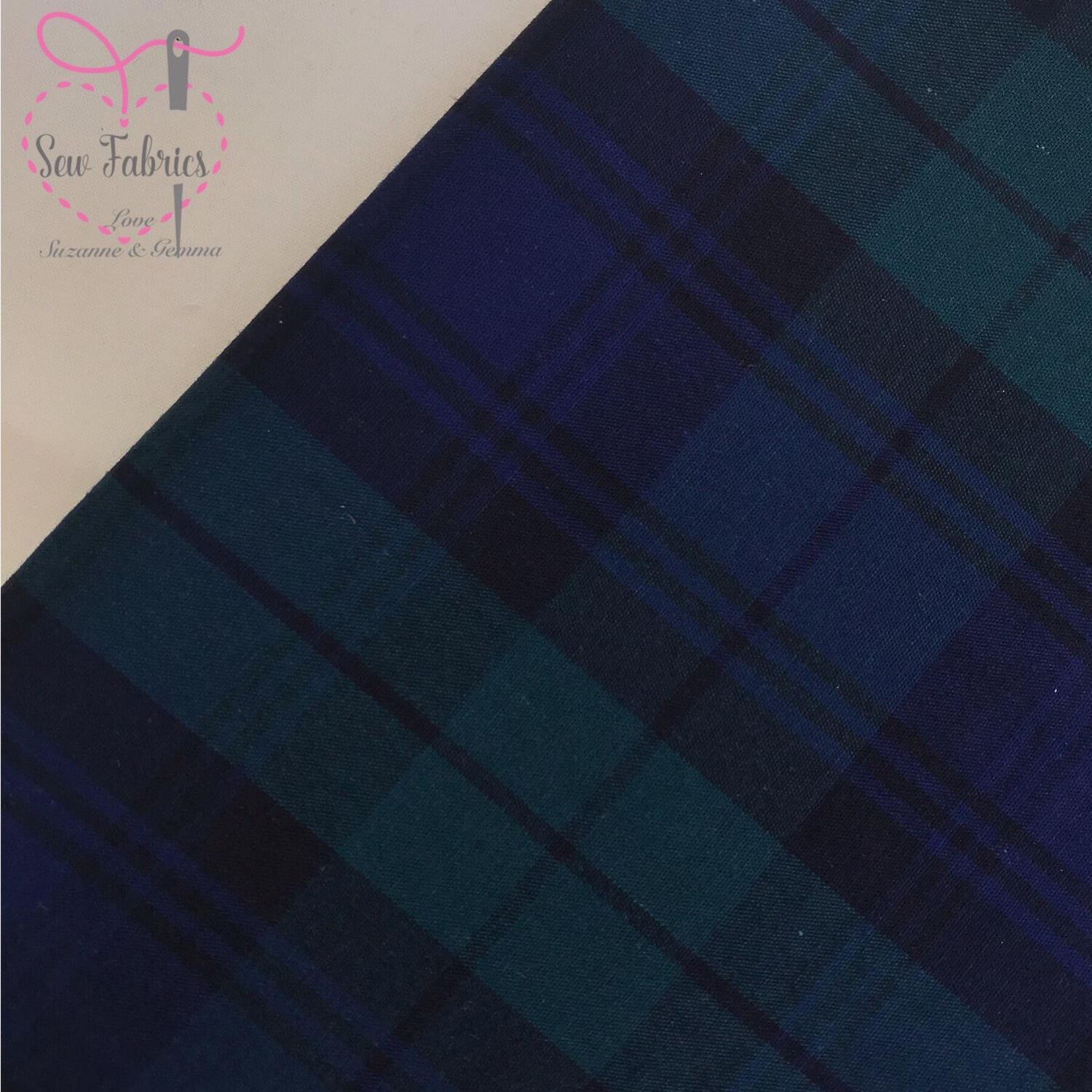Argyle Tartan 100% Cotton Fabric, Blue Green Material