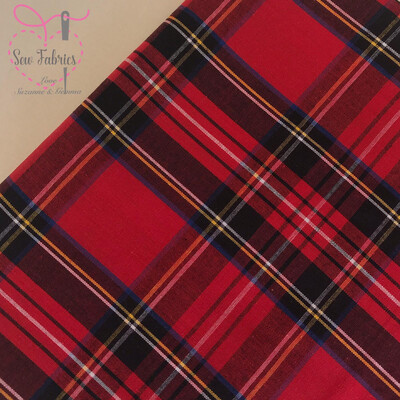 Royal Stewart Tartan 100% Cotton Fabric, Red Material