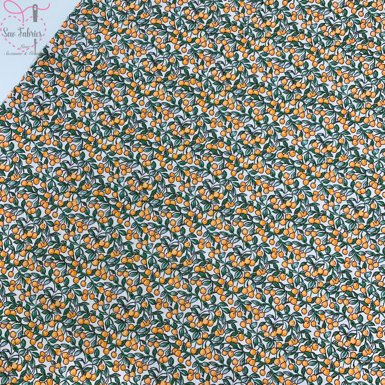 Rose and Hubble Orange Berries Floral Fabric 100% Cotton Poplin Flower Fruit Material Sewing