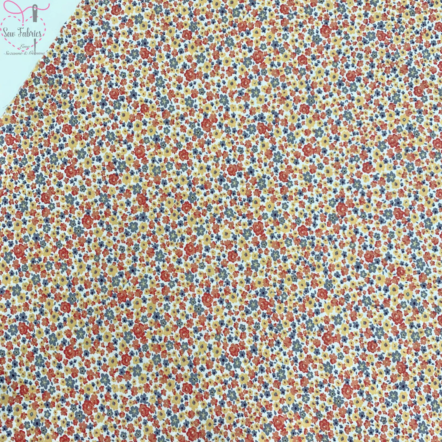 Rose and Hubble Gold Flowers Floral Fabric 100% Cotton Poplin Flower Orange Material Sewing